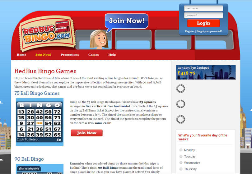 Red Bus Bingo Games