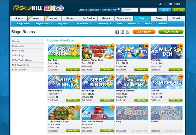 William Hill Bingo Games