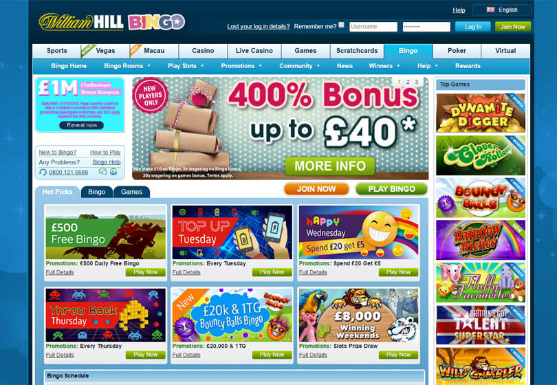 William Hill Bingo Homepage