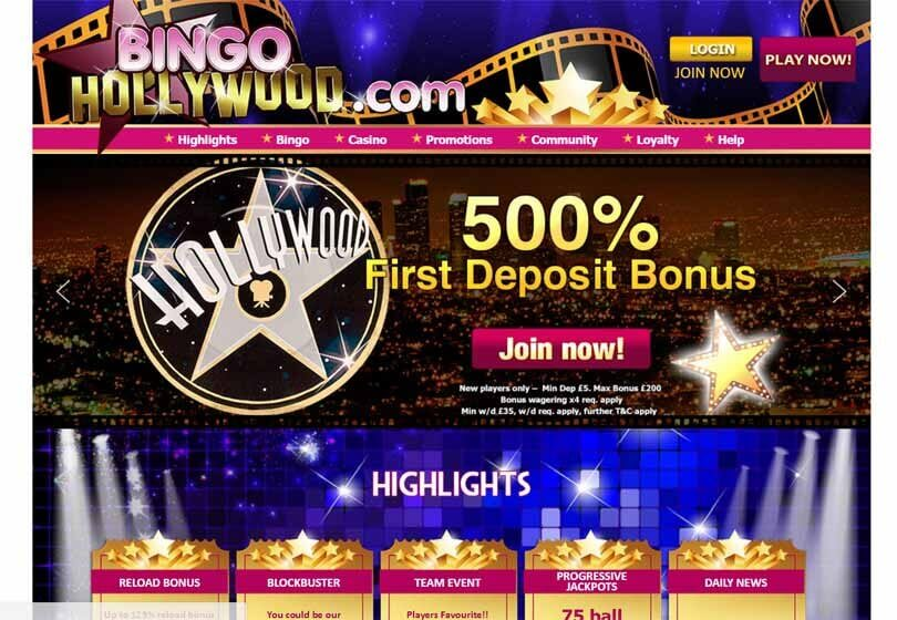 Bingo Hollywood Homepage
