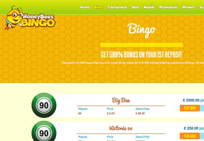 Honey Bees Bingo Games