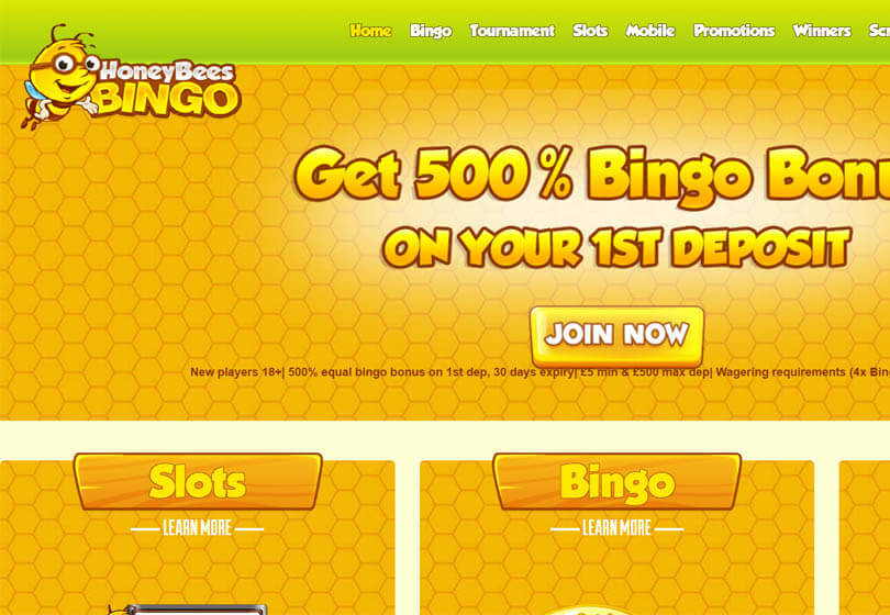 Honey Bees Bingo Homepage