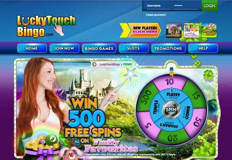 Lucky Touch Bingo Homepage