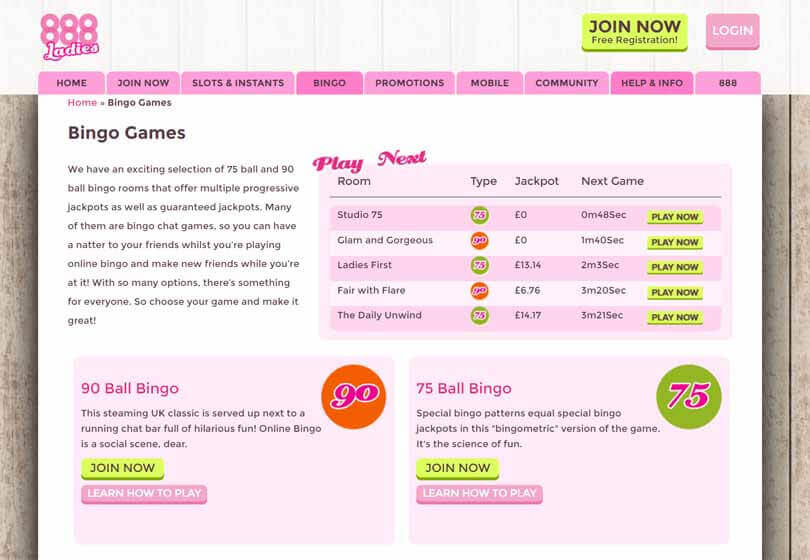 888 Ladies Bingo Games
