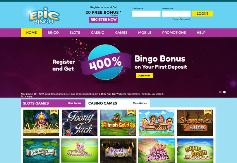 Epic Bingo Homepage