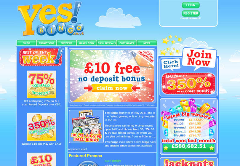 Yes Bingo Homepage