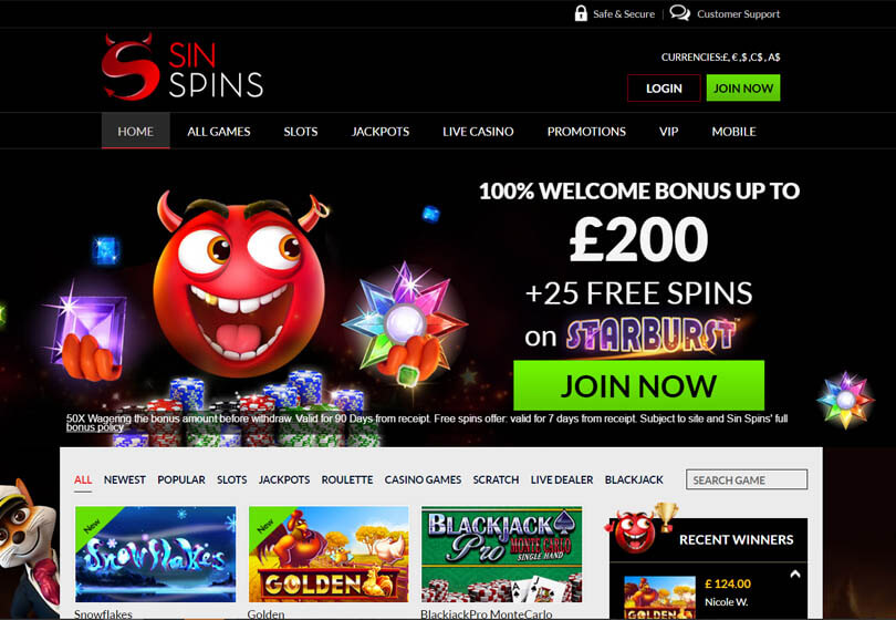 Sin Spins Homepage