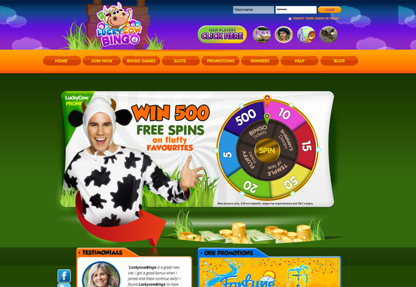 Lucky Cow Bingo Homepage