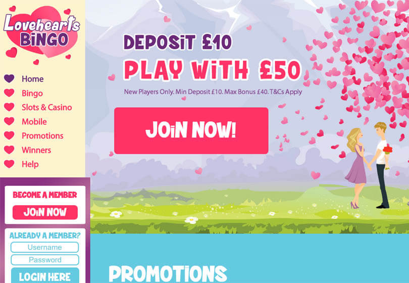 Love Hearts Bingo Homepage